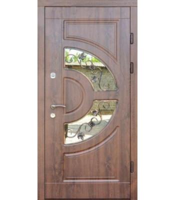 Входные двери Форт Трио Греция с ковкой дуб темный УЛИЦА