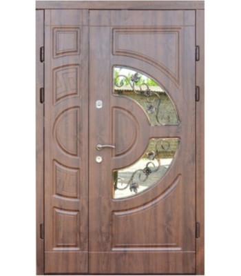 Входные двери Форт Трио Греция с ковкой дуб темный 1200*2050 УЛИЦА