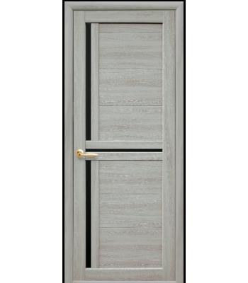 Двери Новый Стиль Тринити экошпон ясень патина черное стекло