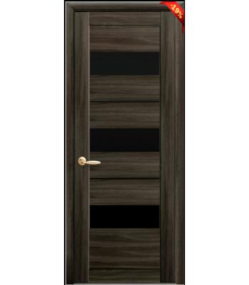 Двери Новый Стиль Лилу экошпон кедр черное стекло