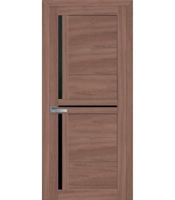 Двери Новый Стиль Тринити экошпон орех черное стекло