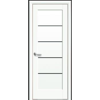 Двери Новый Стиль Мира Белый мат черное стекло