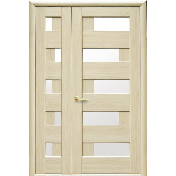 Двери Новый Стиль Полуторная дверь Пиана стекло сатин