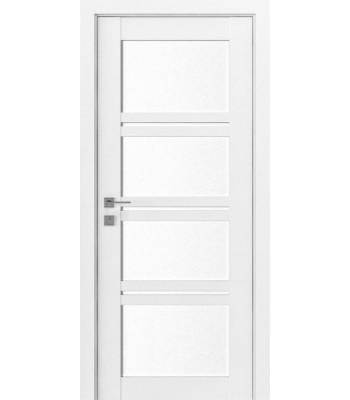 Двери Rodos Modern Quadro каштан белый стекло Сатин
