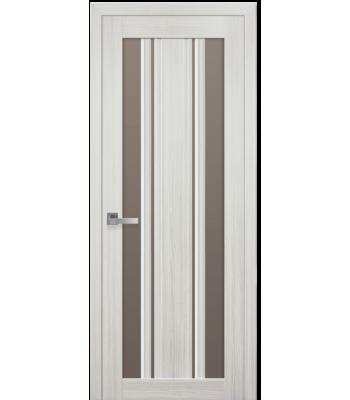 Двери Новый Стиль Верона С2 жемчуг белый стекло бронза