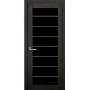 Двери Новый Стиль ПВХ Ultra Виола дуб мускат черное стекло
