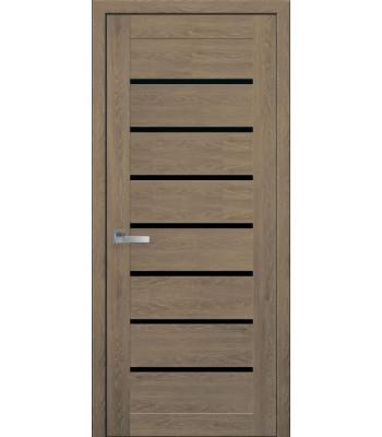 Двери Новый Стиль ПВХ Ultra Леона дуб медовый черное стекло