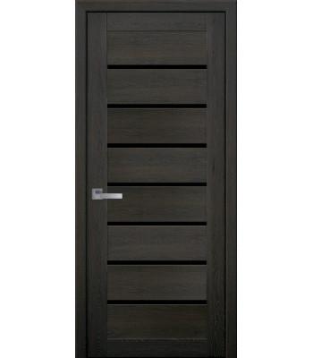 Двери Новый Стиль ПВХ Ultra Леона дуб мускат черное стекло