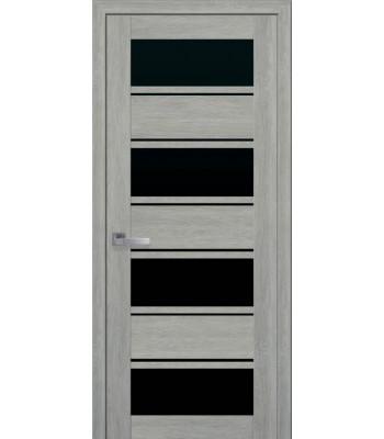 Двери Новый Стиль ПВХ Ultra Элиза дуб дымчастый черное стекло