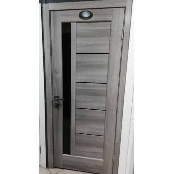Двери Новый Стиль Грета дуб пепельный черное стекло